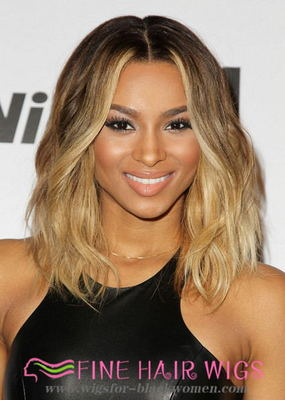 "14"" Wavy Medium Wigs For African American Women The Same As The Hairstyle In The Picture"