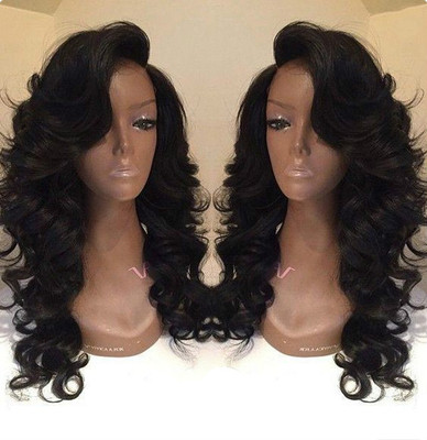 "24"" Side Bangs Wavy Long Wigs For African American Women The Same As Hairstyle In Picture"