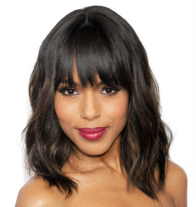 "14"" Wavy Bob With Bangs Wigs For African American Women The Same As The Hairstyle In Picture"