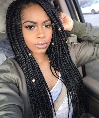 "24"" Braided Wigs Lace Front Wigs For Women The Same As The Hairstyle In The Picture"