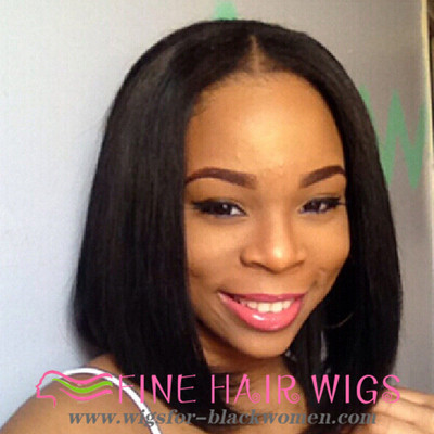 "12"" Straight Bob Wigs For African American Women The Same As The Hairstyle In The Picture"