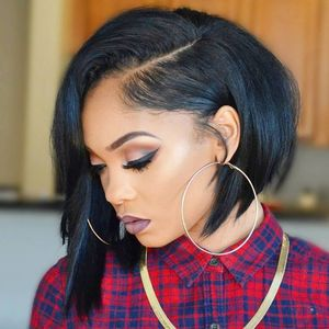"12"" Side Bangs Bob Wigs For African American Women The Same As The Hairstyle In The Picture"