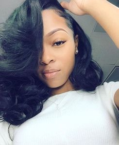 "14"" Side Bangs Bob Wigs For African American Women The Same As The Hairstyle In The Picture"
