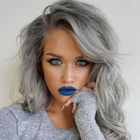 "14"" Wavy Grey Wigs For African American Women The Same As The Hairstyle In The Picture"