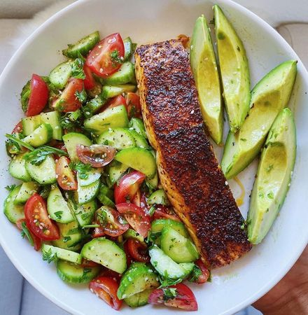 Spicy AIR FRIED Salmon & Cucumber Herb Salad