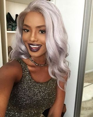 20 Inch Grey Wigs For African American Women The Same As The Hairstyle In The Picture