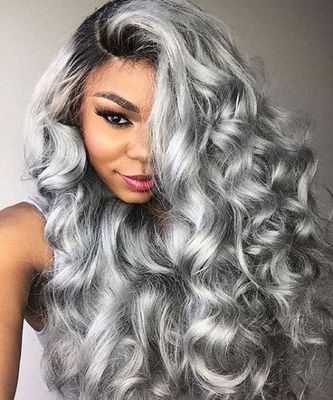 24 Inch Wavy Gray Wigs For African American Women The Same As The Hairstyle In The Picture jy