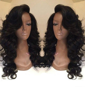 24 Inch Side Bangs Wavy Long Wigs For African American Women The Same As Hairstyle In Picture