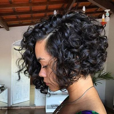 "12"" Curly Wigs For African American Women The Same As The Hairstyle In The Picture"