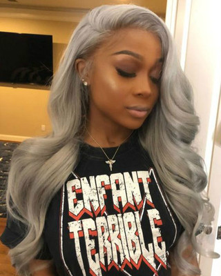 24 Inch Wavy Gray Wigs For African American Women The Same As The Hairstyle In The Picture jw