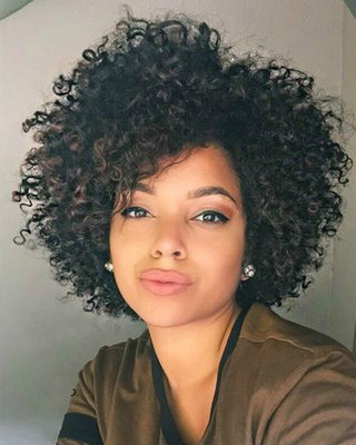 "12"" Kinky Curly Wigs For African American Women The Same As The Hairstyle In The Picture"