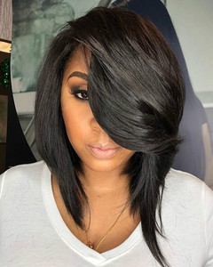 12 Inch Bob With Bangs Wigs For African American Women The Same As The Hairstyle In The Picture af