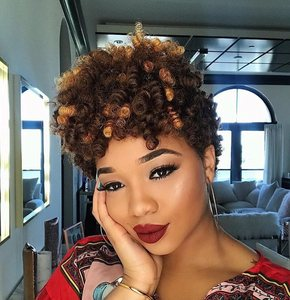 "8"" Curly Short Wigs For African American Women The Same As The Hairstyle In The Picture"