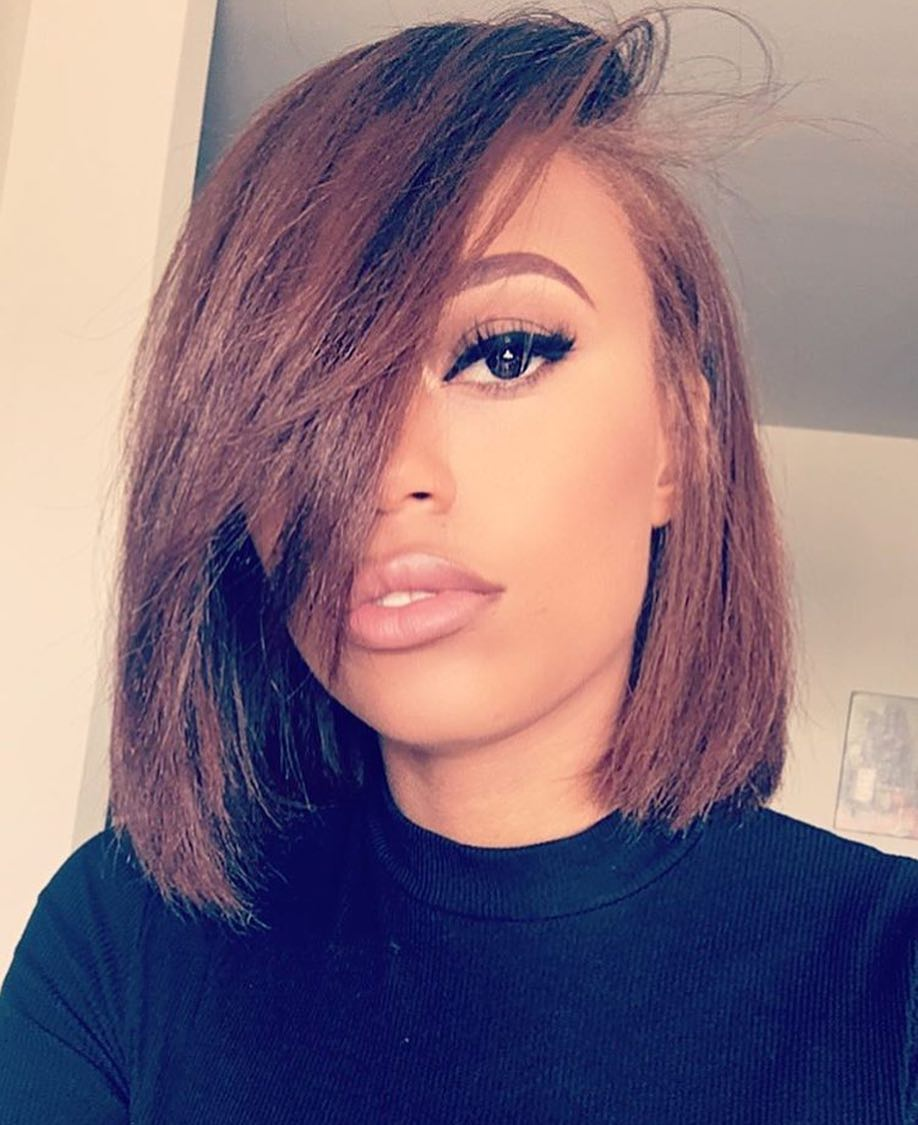12 Inch Side Bangs Bob Wigs For African American Women The