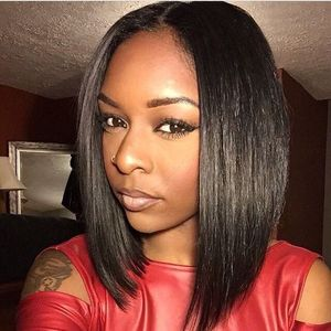 "12"" Straight Bob Wigs For African American Women The Same As The Hairstyle In Picture"