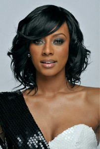 12 Inch Wavy With Bangs Wigs For African American Women The Same As The Hairstyle In The Picture op