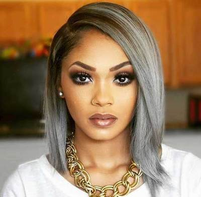 12 Inch Gray Wigs For African American Women The Same As The Hairstyle In The Picture km