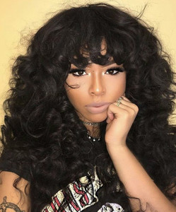 24 Inch Wavy With Bangs Wigs For African American Women The Same As The Hairstyle In The Picture bq