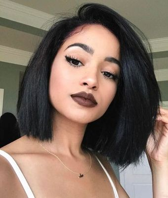 12 Inch Side Part Bob Wigs For African American Women The Same As The Hairstyle In The Picture